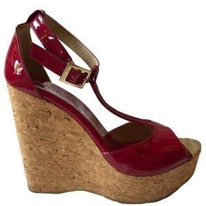 Jimmy Choo red patent cork heels.